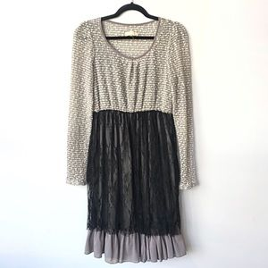 Anthro A'reve Boho Mixed Media Layered Lace Dress
